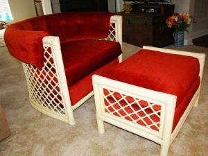 I scored this 1970's rattan and velvet chair and ottoman at my local, favorite thrift store.