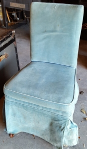 antique chair labeled Brent's Homes Furnished Complete 716-722 South Main St. Los Angeles, CALIF